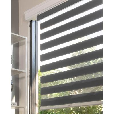 Basic Slate Cordless Cut-to-Width Light Filtering Dual Layer Zebra Roller Shade 55 in. W x 72 in. L