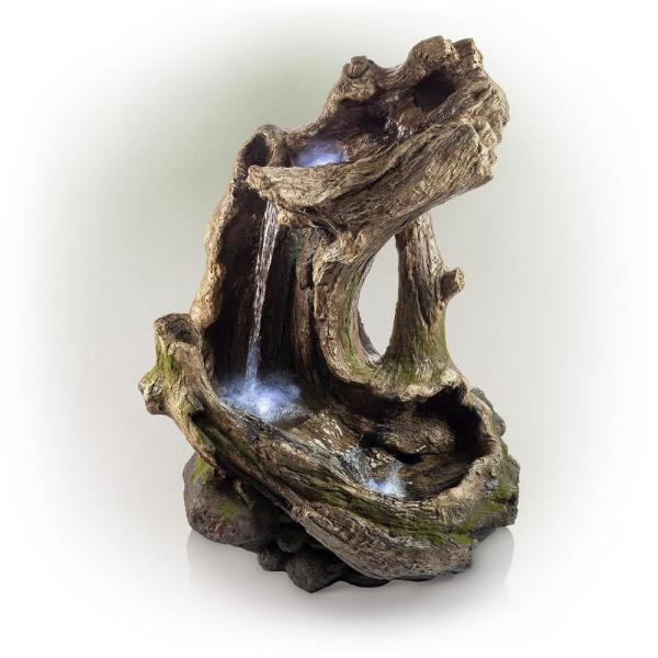 41 in. Tall Outdoor Rainforest Curved Log Water Fountain with LED Lights