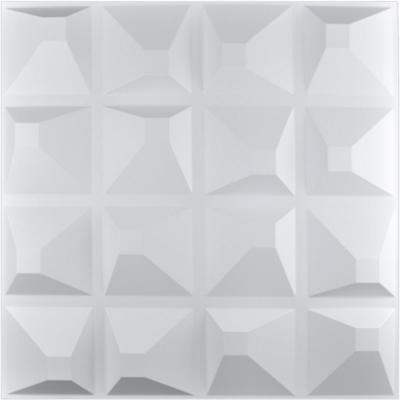 19.7 in. x 19.7 in. x 1 in. White PVC 3D Wall Panels Brick Wall Design (12-Pack)