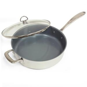 induction 21 steel 5 qt ceramic nonstick skillet with glass lid in stainless