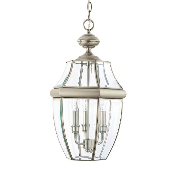 Lancaster 3-Light Antique Brushed Nickel Outdoor Hanging Pendant with Dimmable Candelabra LED Bulb