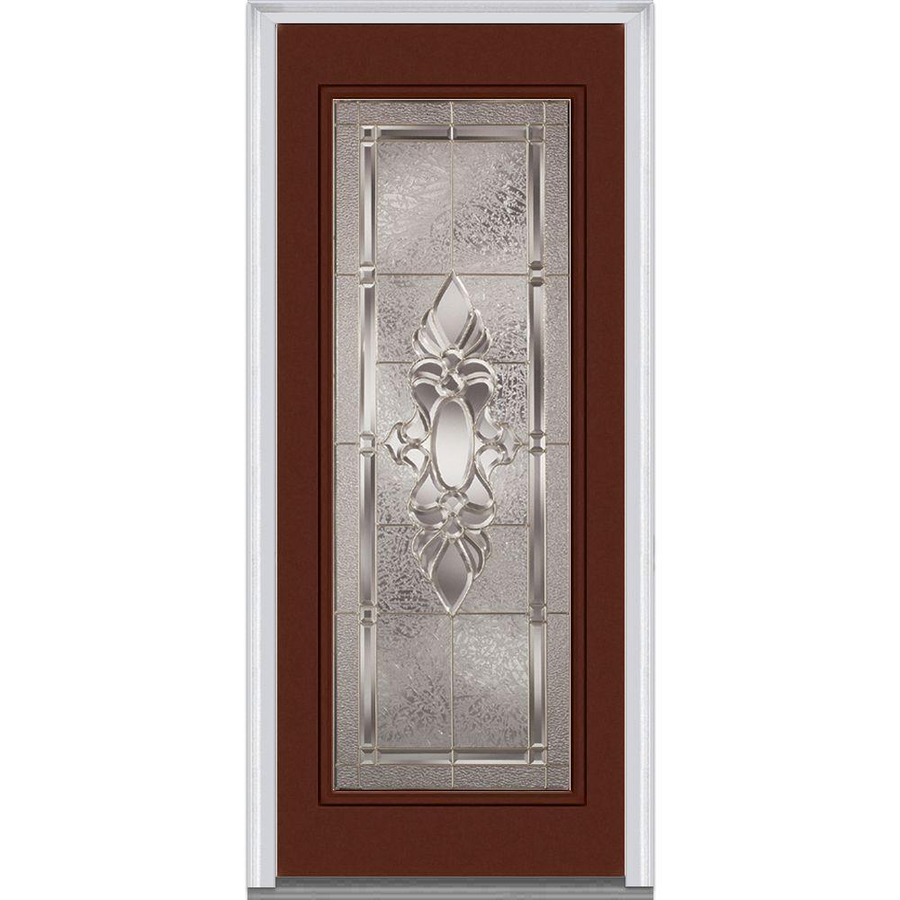 36 in. x 80 in. Heirloom Master Left-Hand Inswing Full Lite Decorative Painted Steel Prehung Front Door