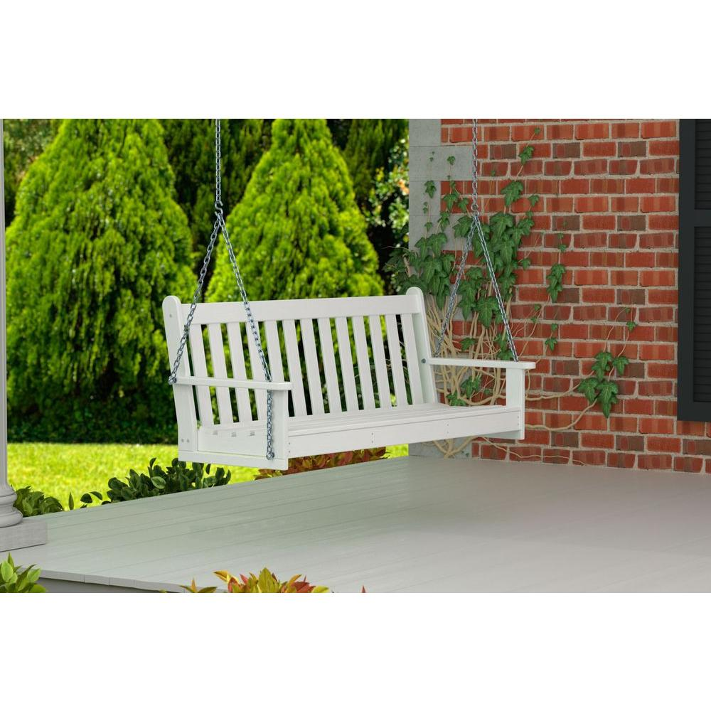 POLYWOOD Vineyard 60 in. White Plastic Outdoor Porch Swing