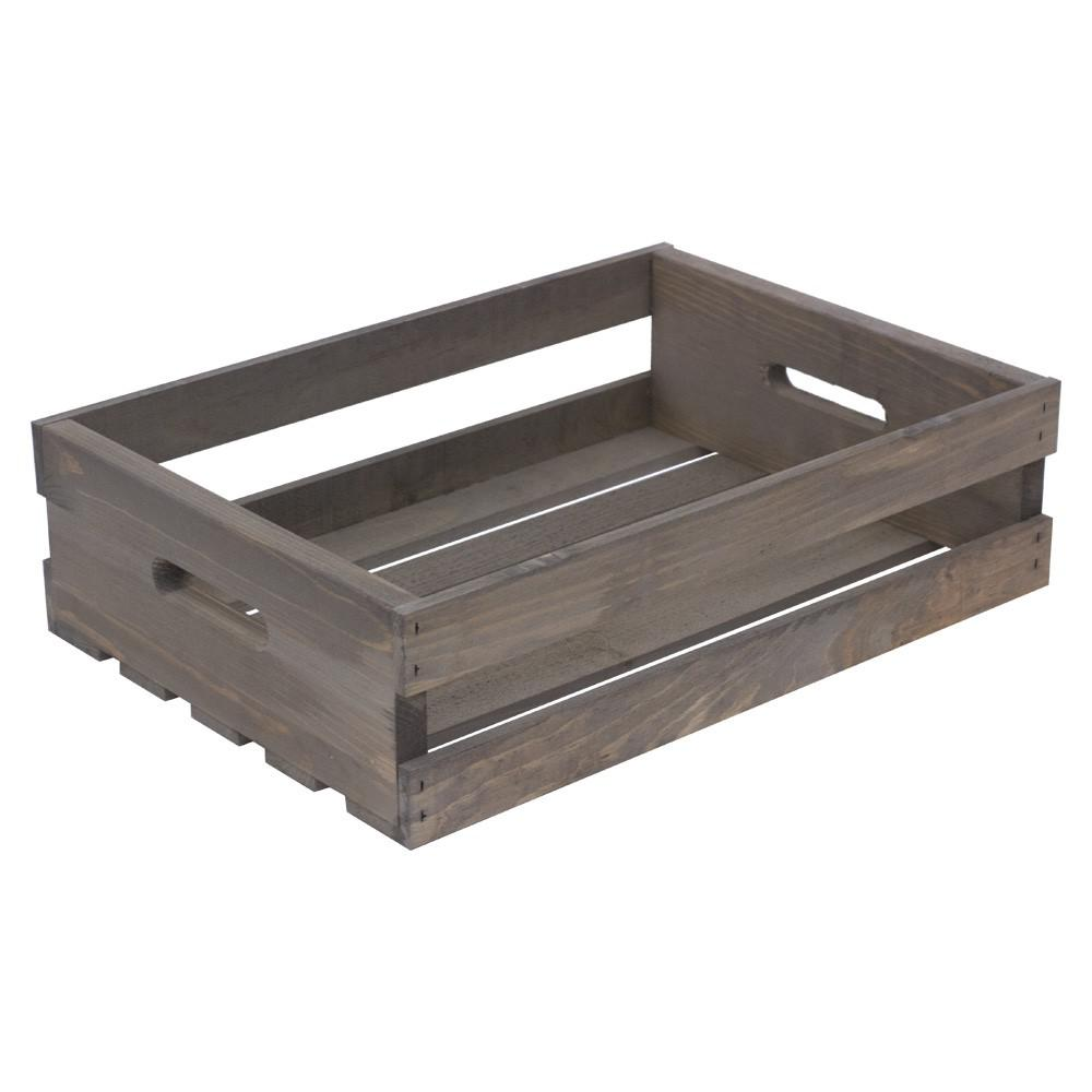 Crates & Pallet 18 in. x 12.5 in. x 4.625 in. Half Crate in Weathered Gray
