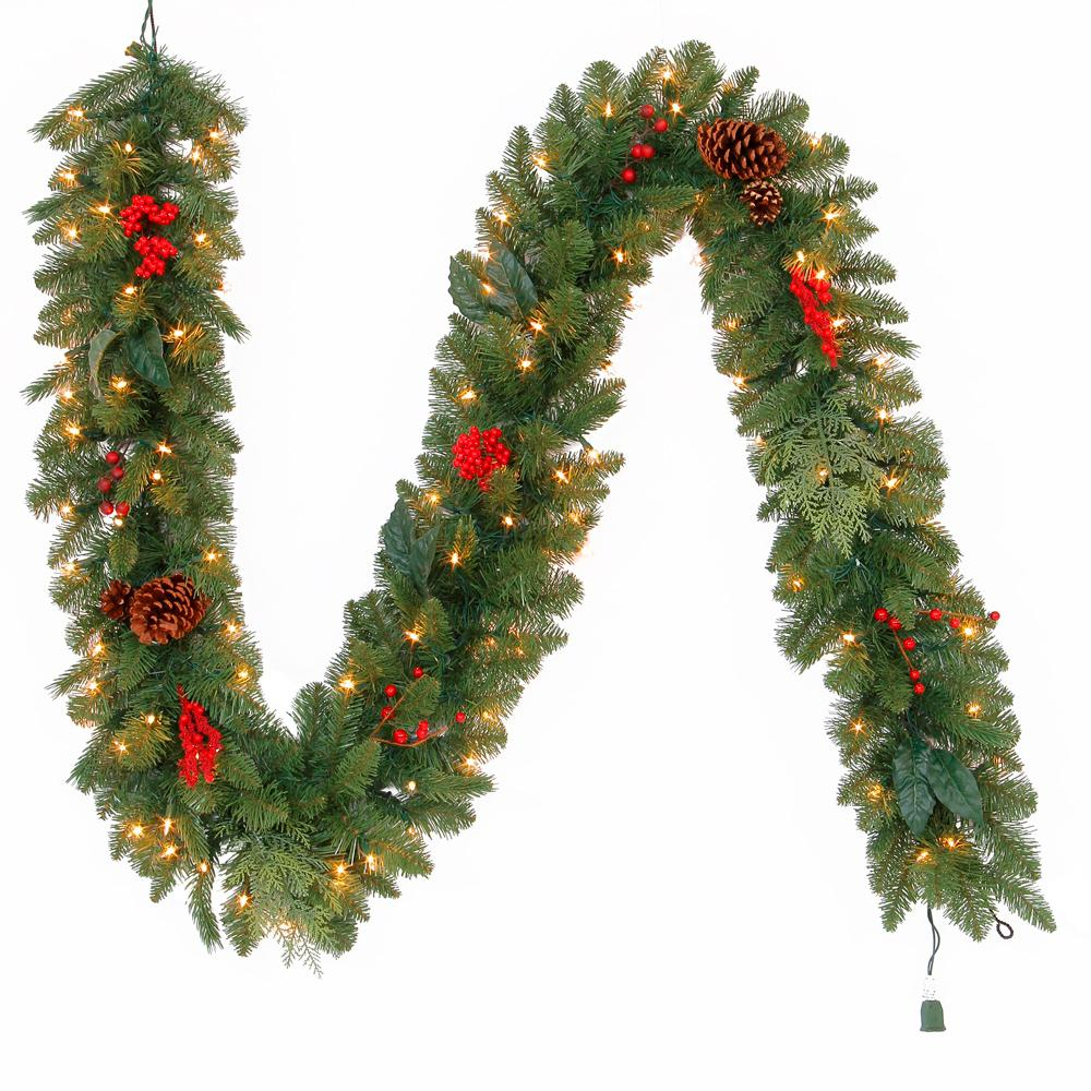 Martha Stewart Living 9 ft. Pre-Lit Artificial Winslow Fir Christmas Garland with 190 Tips and 100 Clear Lights