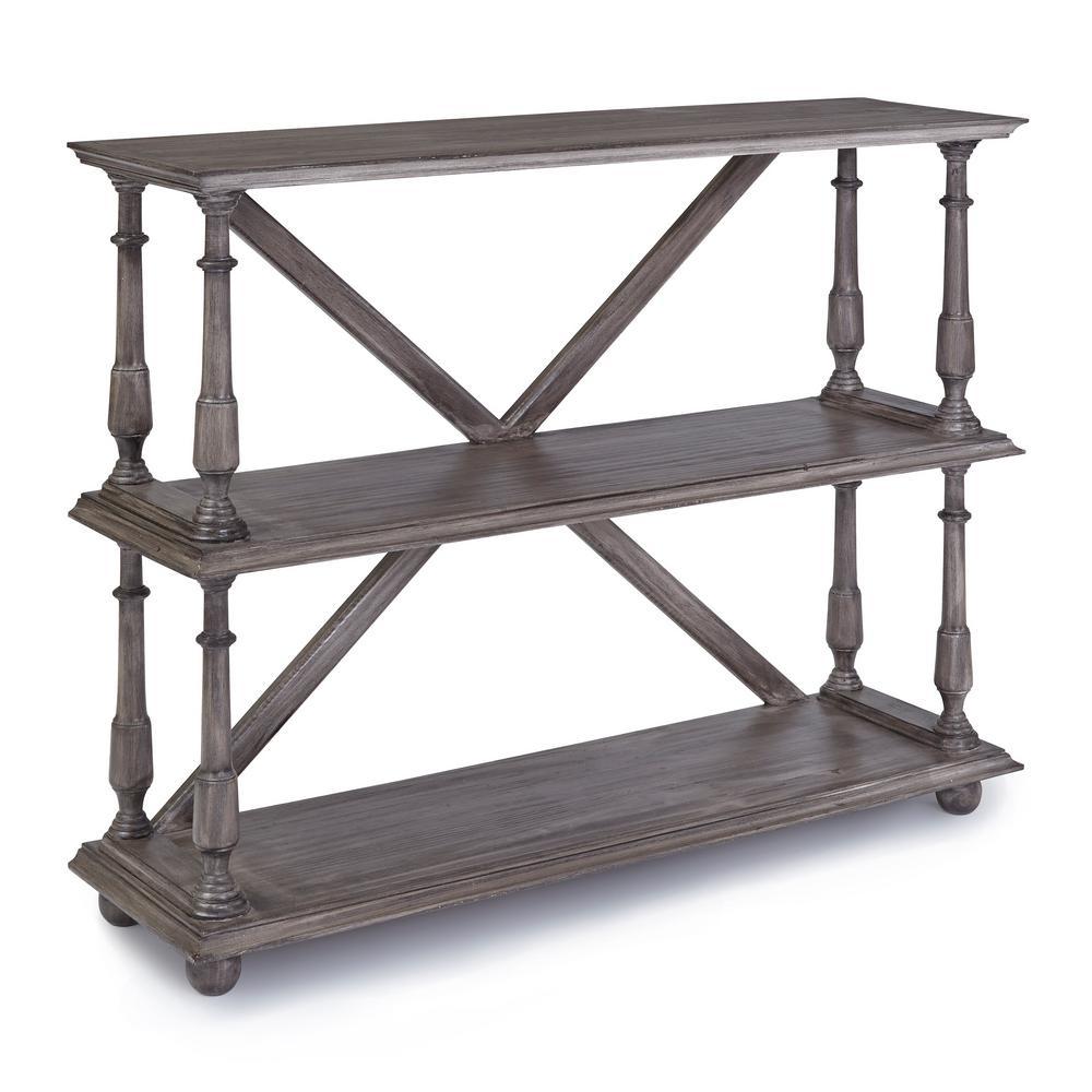 Gabriella 41 in. Graphite Gray 3-Shelves Pine Bookcase