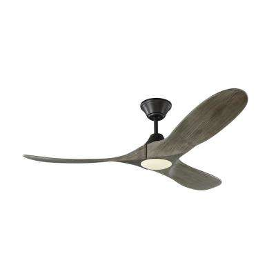 Maverick II 52 in. Integrated LED Indoor/Outdoor Aged Pewter Ceiling Fan with Light Grey Weathered Oak Blades and Remote