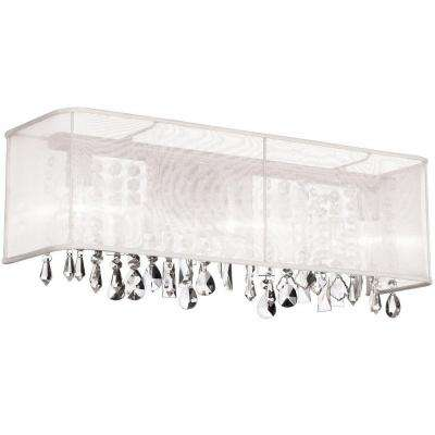 Bohemian 4-Light Polished Chrome Vanity Light with Crystals and White Organza Rectangular Shade