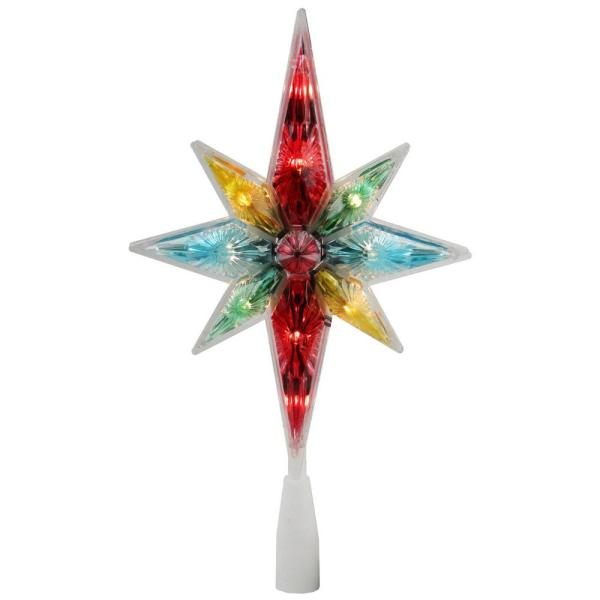 10.75 in. Multi-Color Faceted Star of Bethlehem Christmas Tree Topper - Clear Lights