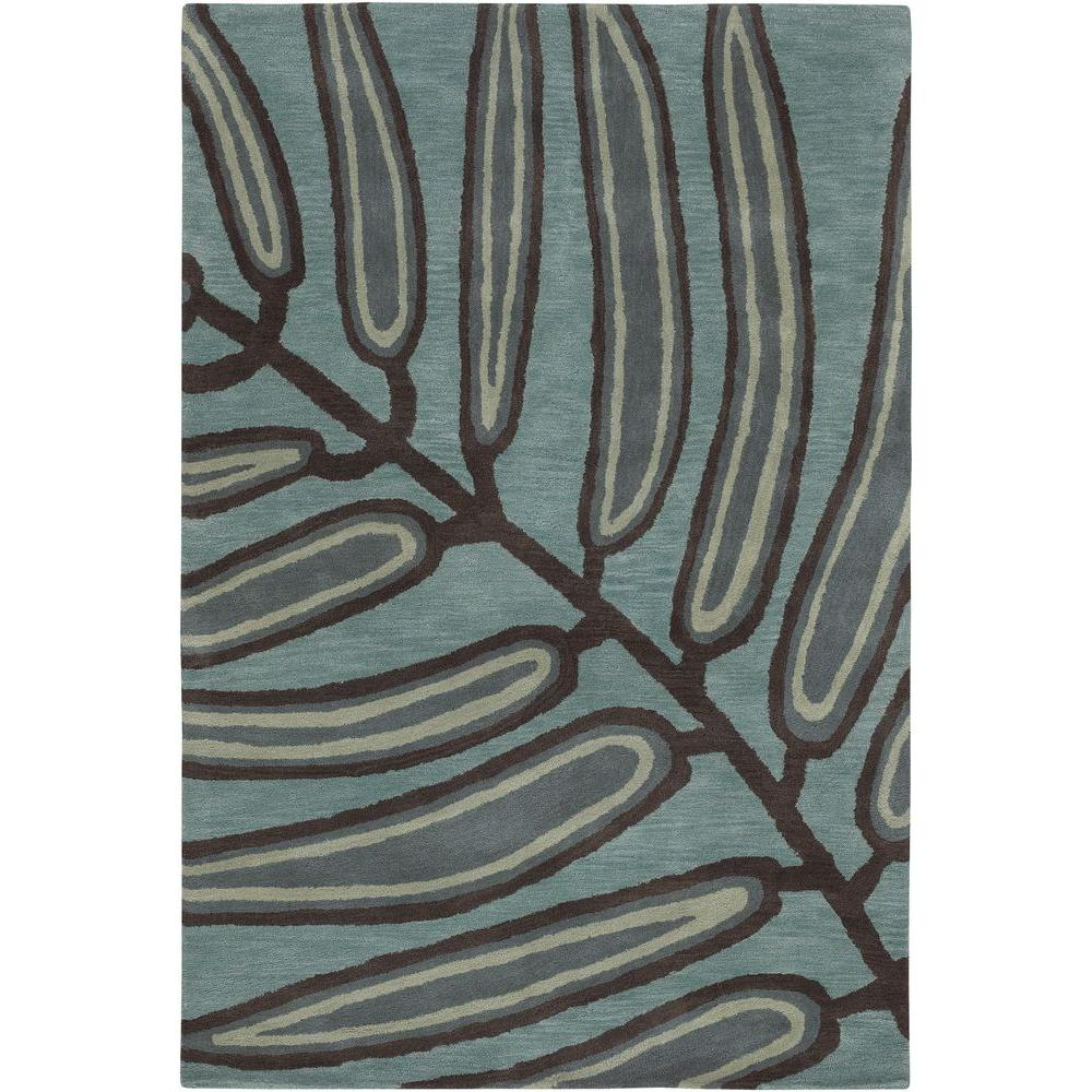 Aschera Blue/Dark Brown 5 ft. x 7 ft. 6 in. Indoor