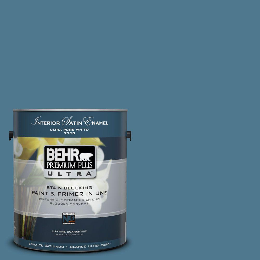 BEHR Premium Plus Ultra 1 gal. #UL230-19 Cayman Bay Satin Enamel Interior Paint and Primer in One