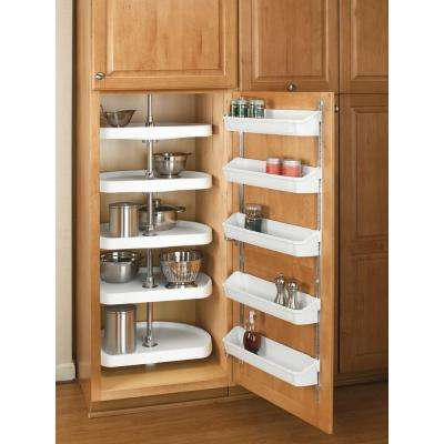 62 in. H x 22 in. W x 22 in. D White Polymer 5-Shelf D-Shape Lazy Susan Set