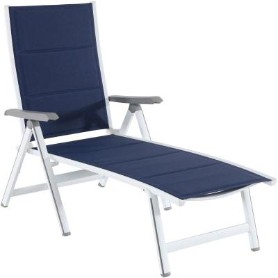 Regis Padded Sling Outdoor Chaise Lounge in White with Navy Blue Sling