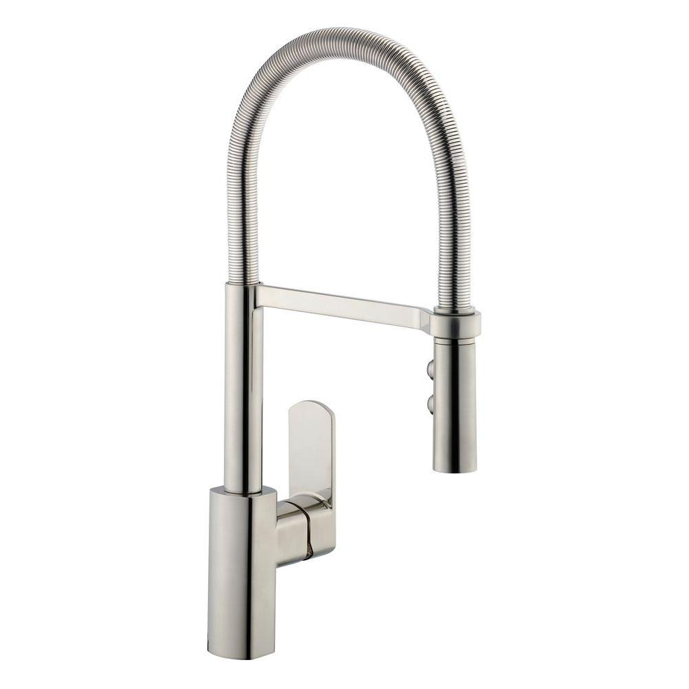 Pegasus 1250 Series Spring Neck Single Handle Pull Down Sprayer Kitchen Faucet In Stainless Steel