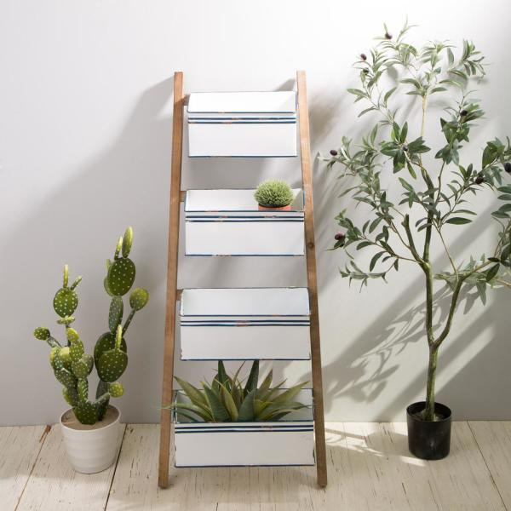 Farmhouse Metal Enamel 4 Tier Basket Shelves