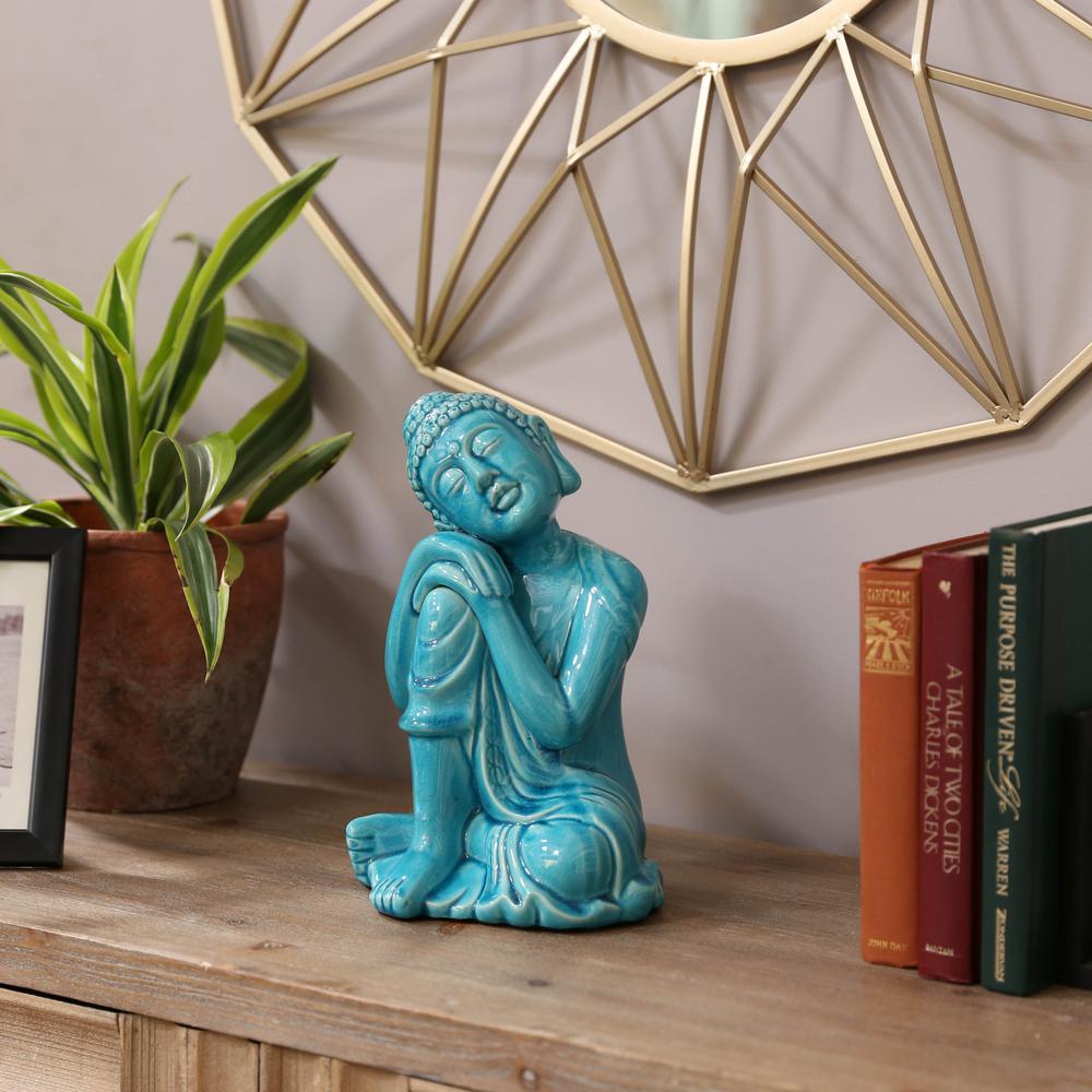 7.5 in. H Buddha Decorative Figurine in Blue Gloss Finish