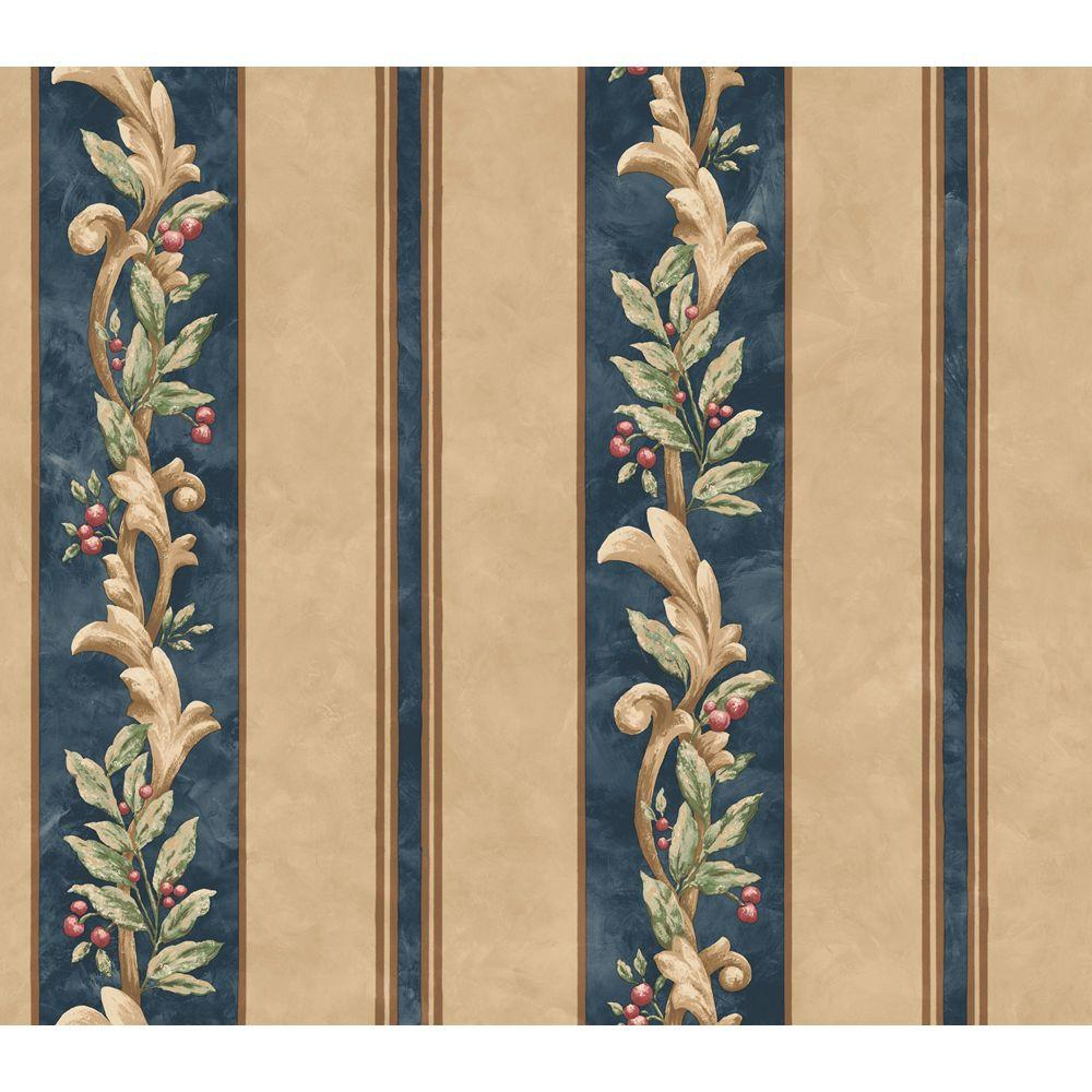 The Wallpaper Company 8 in. x 10 in. Blue and Beige Stripe with Fruit and Leaf Scroll Wallpaper Sample