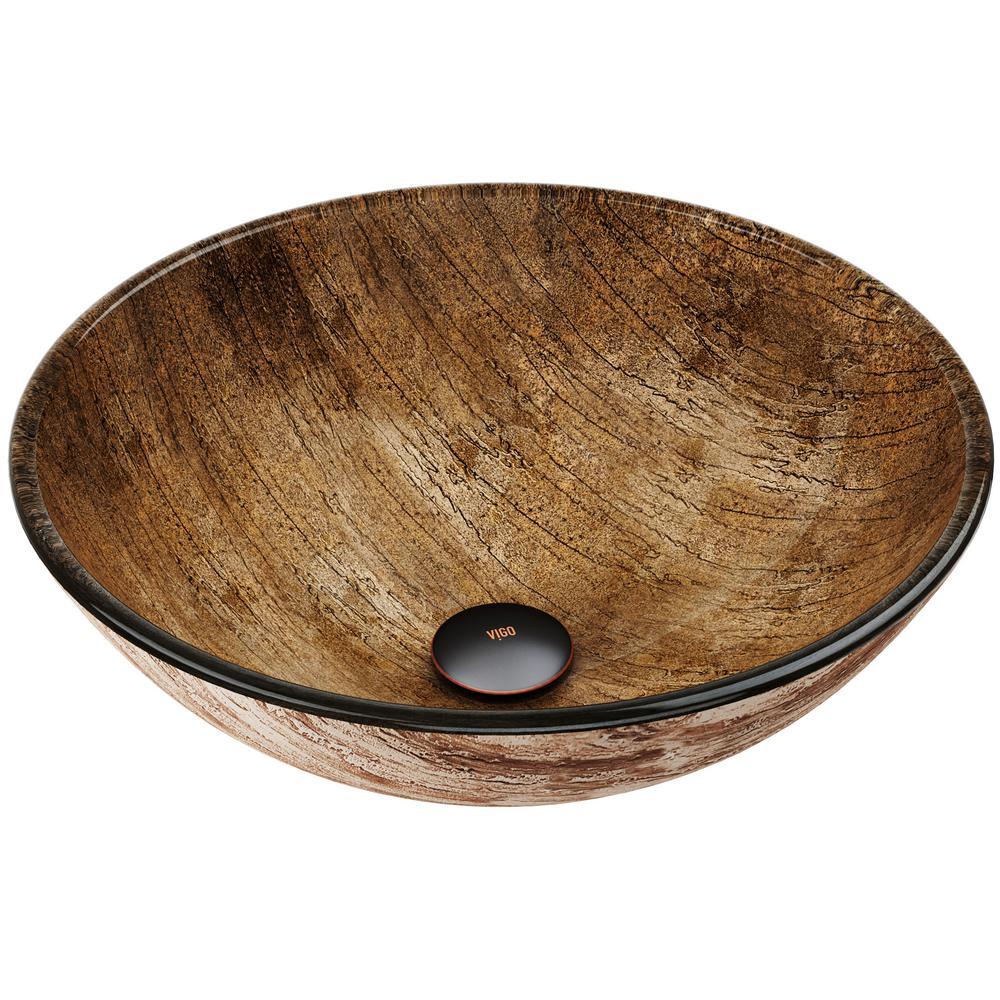 Vigo Amber Handmade Gl Round Vessel