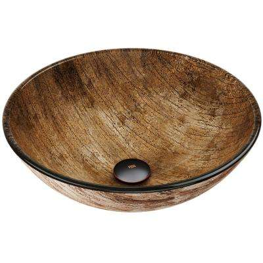 Amber Handmade Countertop Glass Round Vessel Bathroom Sink in Wooden