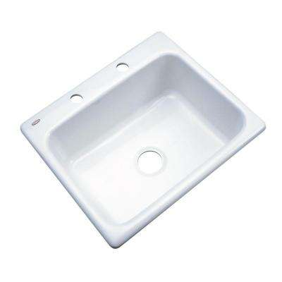 Inverness Drop-In Acrylic 25 in. 2-Hole Single Bowl Kitchen Sink in White