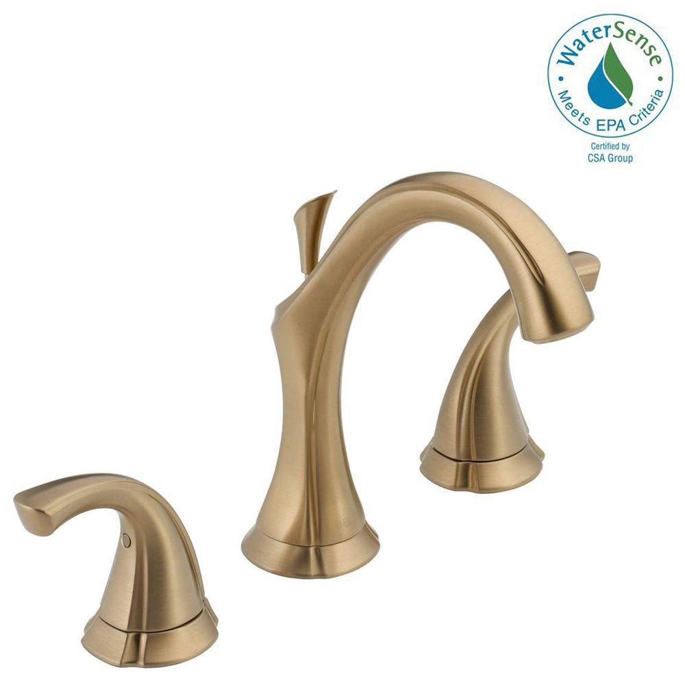 Delta Victorian 8 In Widespread 2 Handle High Arc Bathroom Faucet In Chrome 3555lf 216: Delta Addison 8 In. Widespread 2-Handle Bathroom Faucet With Metal Drain Assembly In Champagne