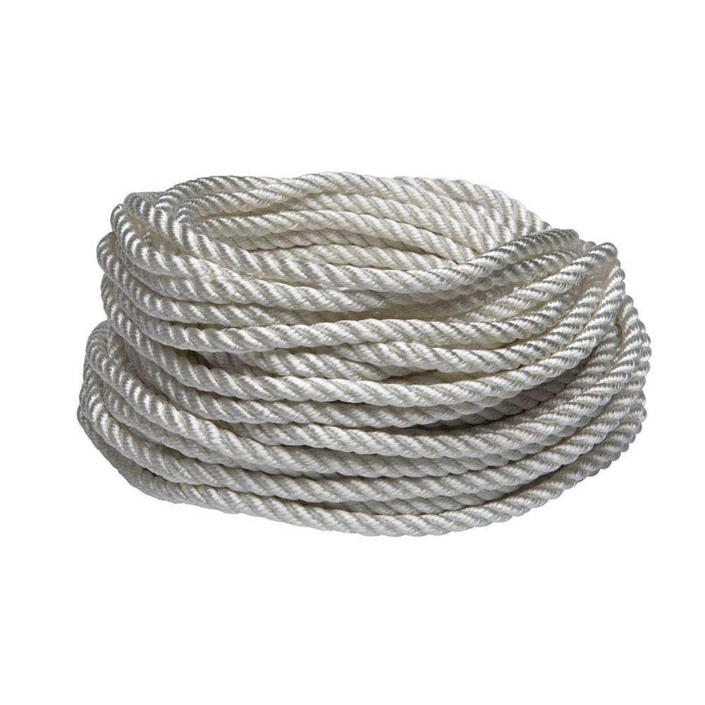 Everbilt 1 4 In X 50 Ft White Twisted Nylon Rope 73046 The Home Depot