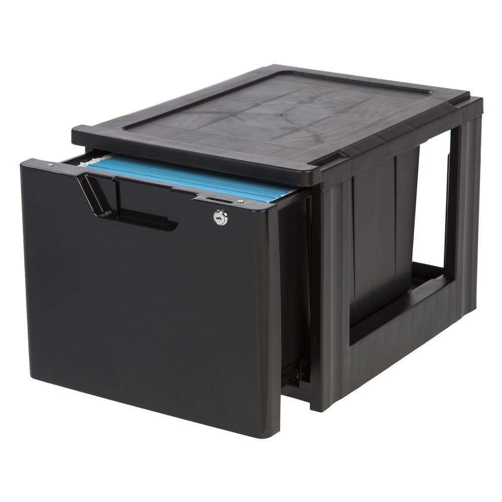 iris 60 qt. lockable stacking file storage box in black-122092 - the