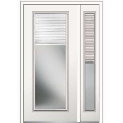 48 in. x 80 in. Internal Blinds Left-Hand Full-Lite Primed Steel Prehung Front Door w/ One Sidelite on 4-9/16 in. Frame