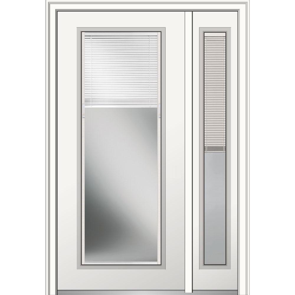 50 In X 80 Internal Blinds Left Hand Full Lite Primed Steel Prehung Front Door W One Sidelite On 4 9 16 Frame