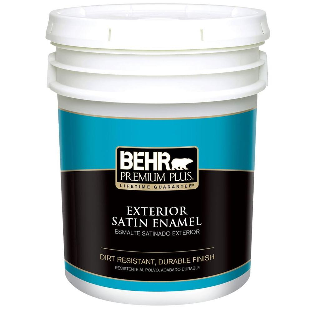 Behr premium plus 5 gal ultra pure white satin enamel exterior paint 905005 the home depot for Behr exterior white paint colors