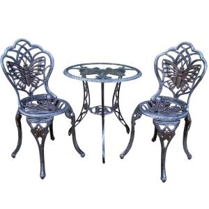 Butterfly Antique Pewter 3-Piece Aluminum Outdoor Bistro Set by