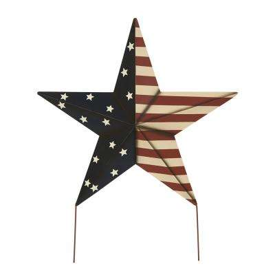 30.02 in. H Patriotic Iron Star Yard Stake or Wall Decor