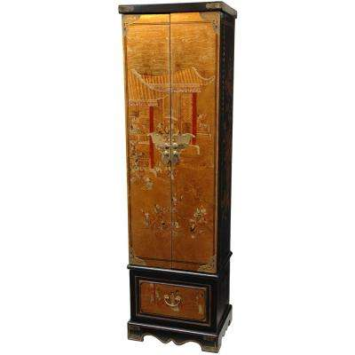 Oriental Furniture Gold Leaf Floor Jewelry Armoire Cabinet