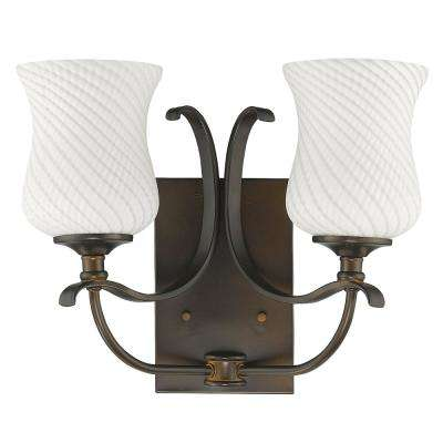 Evelyn 2-Light Oil-Rubbed Bronze Vanity Light with Optic-Art Glass Shades
