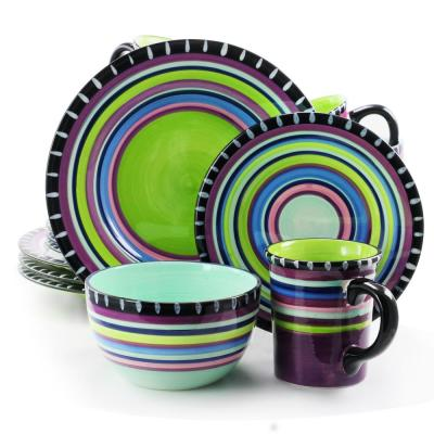 Pueblo Springs Spanish Festival 16-Piece Durastone Purple Dinnerware Set (Service for 4)