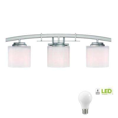 Architecture 3-Light Brushed Nickel Vanity Light with Etched White Glass Shades, Dimmable LED Daylight Bulbs Included