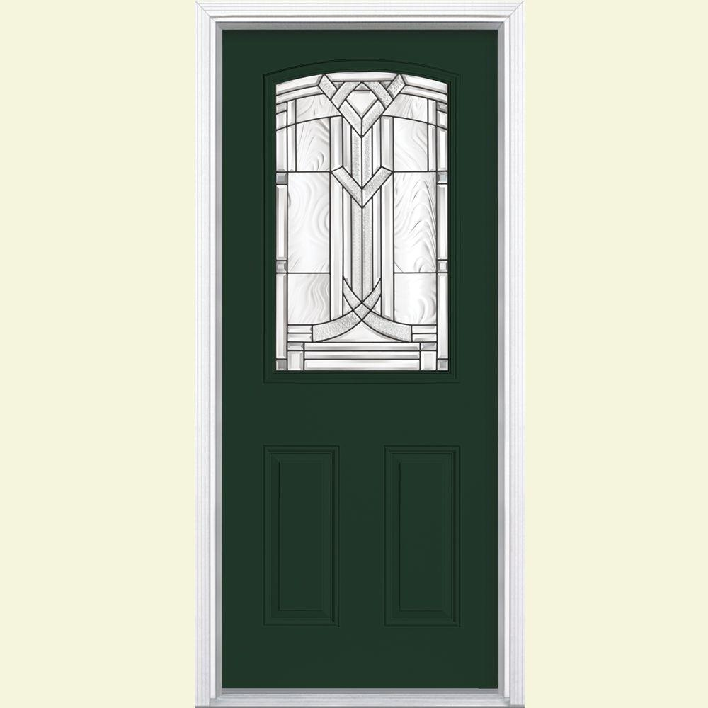 Masonite 36 in. x 80 in. Chatham Camber Top Half Lite Right-Hand Painted Smooth Fiberglass Prehung Front Door with Brickmold