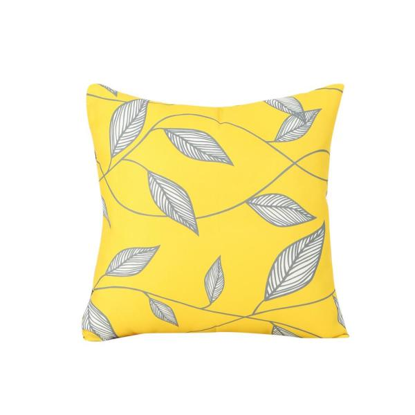 Trovata Yellow, Cream and Grey Square Outdoor Throw Pillow
