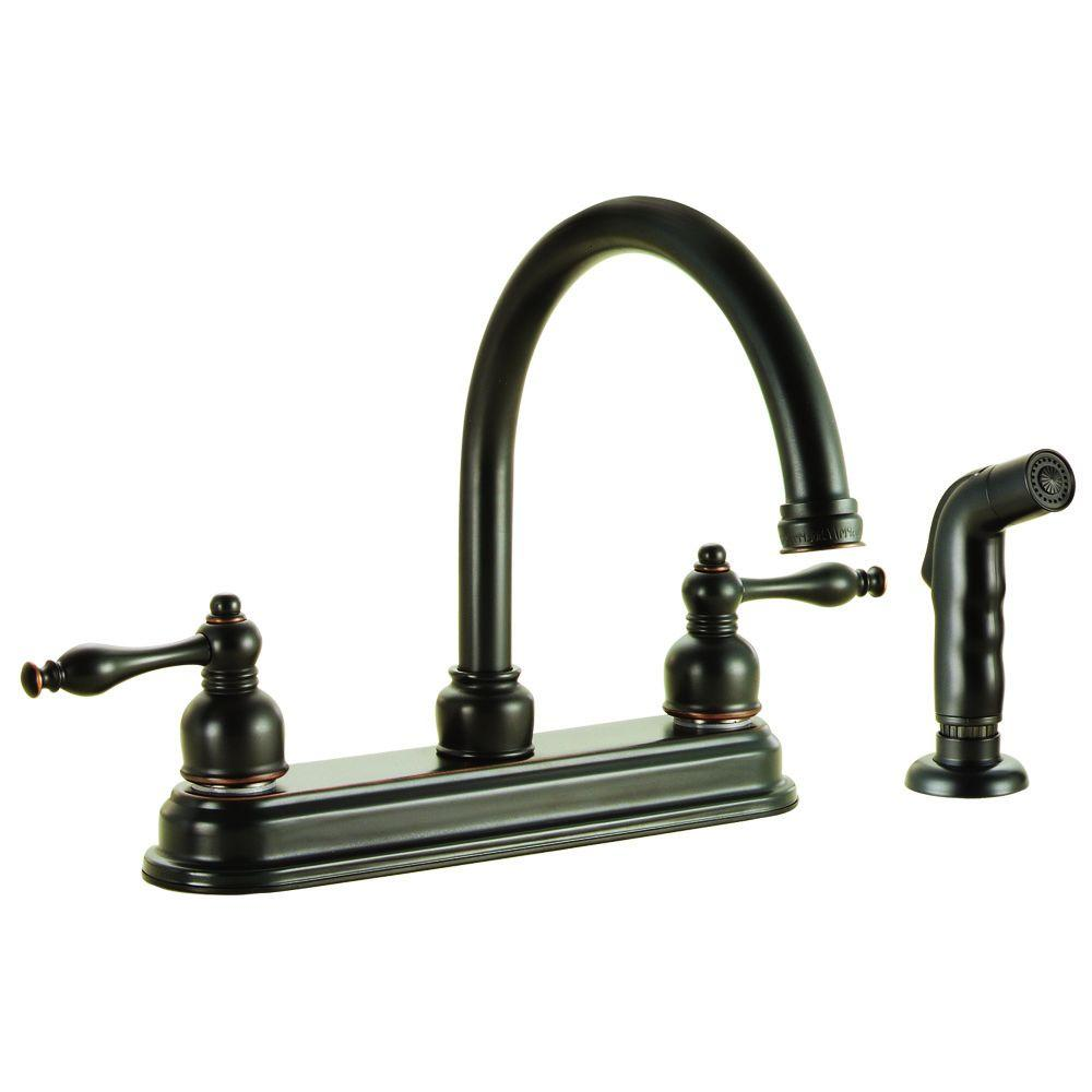 Design House Saratoga 2 Handle Standard Kitchen Faucet With Side Sprayer In Oil Rubbed Bronze
