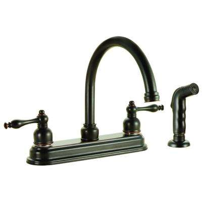 Saratoga 2-Handle Standard Kitchen Faucet with Side Sprayer in Oil Rubbed Bronze