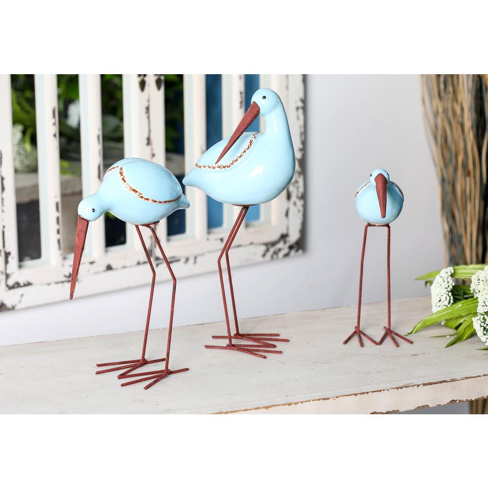 Stork Ceramic Statue in Blue (Set of 3)
