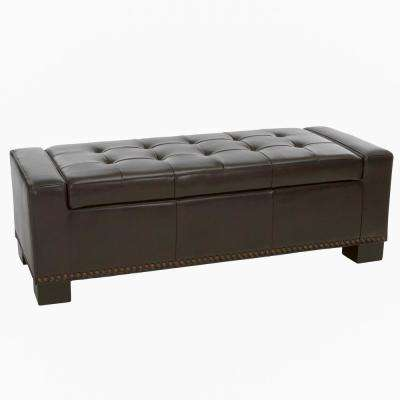 Luciano Brown Bonded Leather Storage Bench with Studs