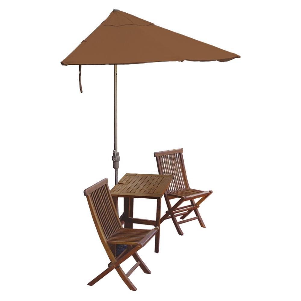 Blue Star Group Terrace Mates Villa Deluxe 5-Piece Patio Bistro Set with 7.5 ft. Teak Sunbrella Half-Umbrella