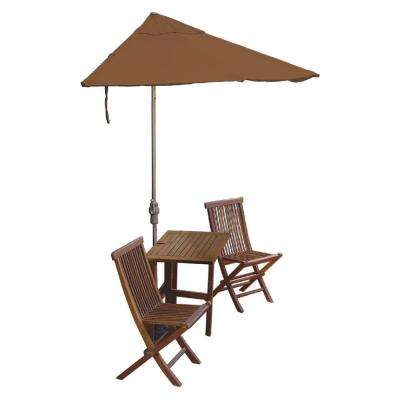 Terrace Mates Villa Deluxe 5-Piece Patio Bistro Set with 7.5 ft. Teak Sunbrella Half-Umbrella