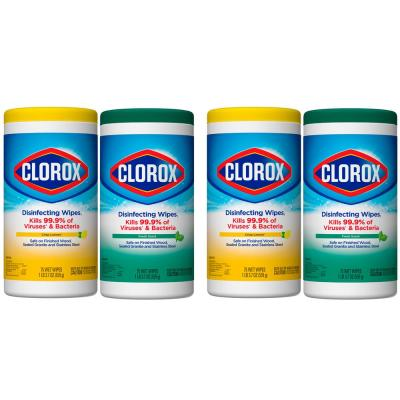 75-Count Crisp Lemon and Fresh Scent Bleach Free Disinfecting Wipes (4-Pack)