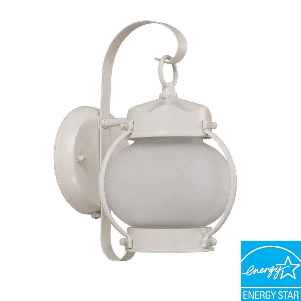 Glomar 1-Light Outdoor White Fluorescent Wall Light