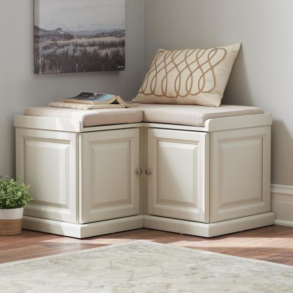 Home Decorators Collection Walker White Storage Bench 7400600410 The Home Depot
