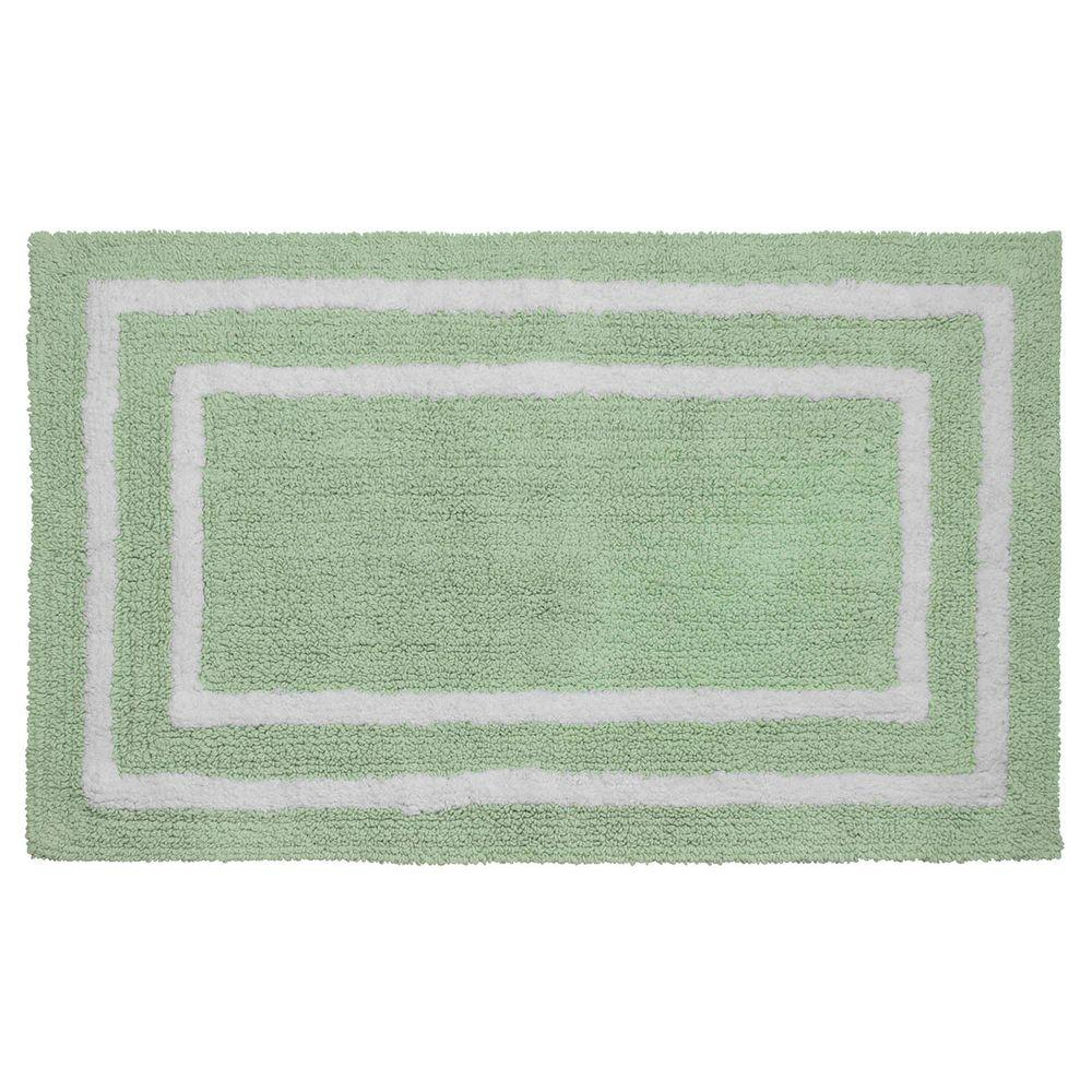 Reversible Cotton Soft Double Border Mint 21 in. x 34 in.