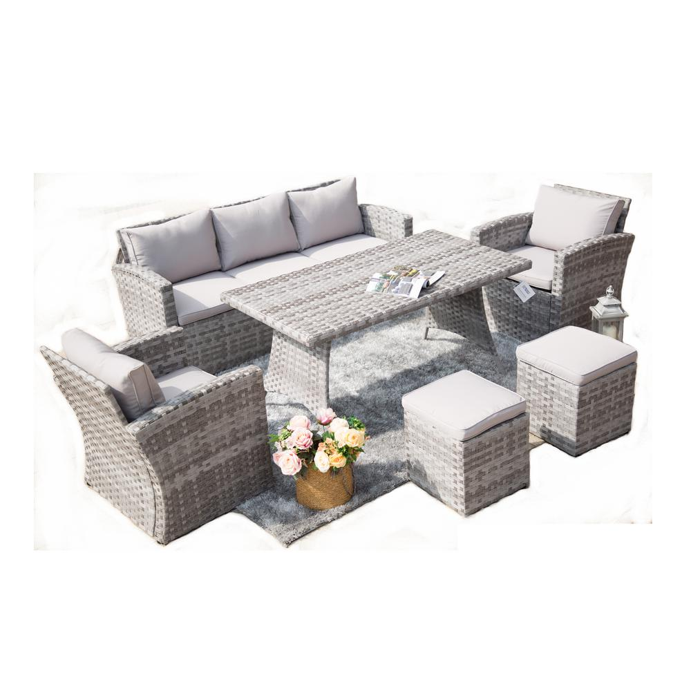 Carolina 6 piece steel wicker patio conversation set with cushions