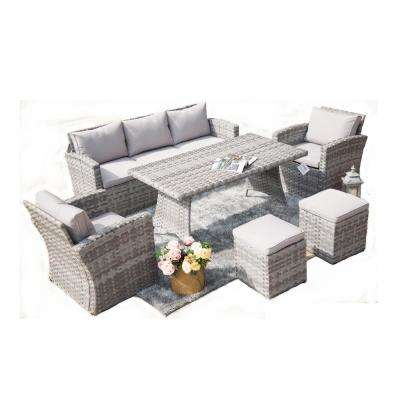 Carolina 6-Piece Steel Wicker Patio Conversation Set with Cushions